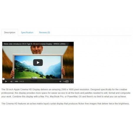 Youtube Video FREE module for opencart product description view example