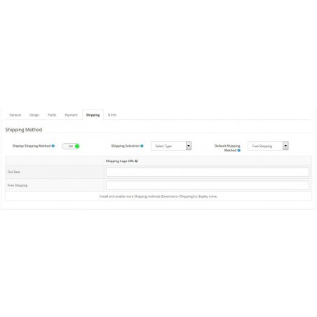 One Page Checkout module for Opencart settings page
