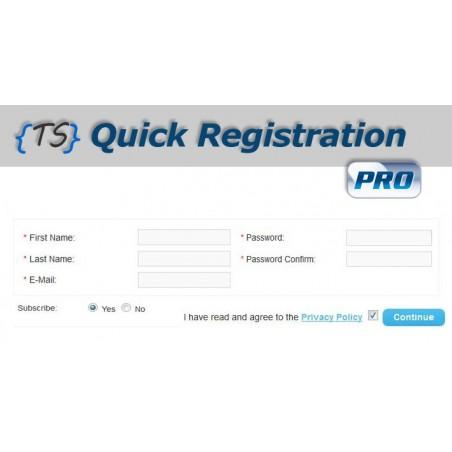 Quick Registration PRO module for Opencart dowbload