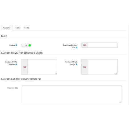 Quick Registration PRO module for Opencart settings