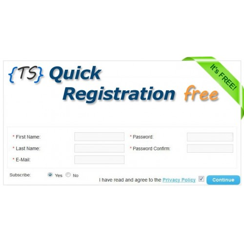 Quick Registration Free download for Opencart