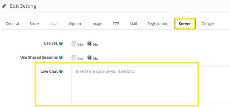 Live Chat Widget for Opencart usage